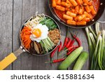 bibimbap and rice cake korean... | Shutterstock . vector #415881634