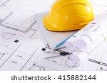 construction blueprints with...   Shutterstock . vector #415882144