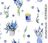 watercolor lavender pattern....   Shutterstock . vector #415908814
