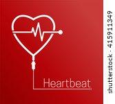 heartbeat vector icon. drop... | Shutterstock .eps vector #415911349