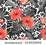 tropical flowers and leaves on... | Shutterstock .eps vector #415929094