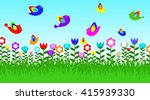 bird in garden and flower | Shutterstock .eps vector #415939330