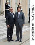 Small photo of PARIS, FRANCE - MAY 2, 2016 : The french President Francois Hollande welcoming the Prime Minister of Japan Shinzo Abe at Elysee Place during a working visit about the summit of G7 in japan.
