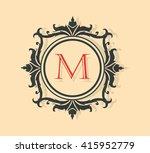 letter m  floral monogram. | Shutterstock .eps vector #415952779