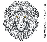 hand drawn lion head isolated.... | Shutterstock .eps vector #415964320