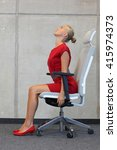 yoga on chair in office  ... | Shutterstock . vector #415974373