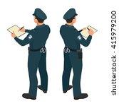 policeman in uniform. isometric ... | Shutterstock .eps vector #415979200