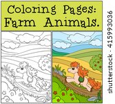 coloring pages  farm animals.... | Shutterstock .eps vector #415993036