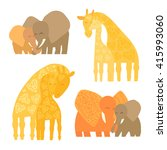 set of baby and mommy animals... | Shutterstock .eps vector #415993060
