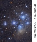 Small photo of M45 Pleiades Star Cluster. In Greek mythology, the Pleiades were seven sisters: Maia, Electra, Alcyone, Taygete, Asterope, Celaeno and Merope.