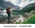 on the banks of the wall lake ... | Shutterstock . vector #416005288