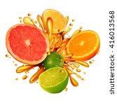 citrus fruit splash symbol with ... | Shutterstock . vector #416013568