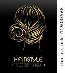 women hairstyle in golden style ... | Shutterstock .eps vector #416033968