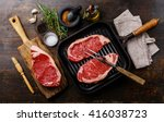 raw fresh meat steak striploin... | Shutterstock . vector #416038723