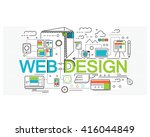 concept of web design  flat... | Shutterstock .eps vector #416044849
