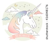 greeting card with a unicorn ... | Shutterstock .eps vector #416048176