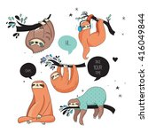 cute hand drawn sloths  funny... | Shutterstock .eps vector #416049844