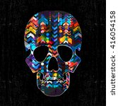 decorative skull with abstract... | Shutterstock .eps vector #416054158