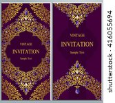 wedding invitation or card with ... | Shutterstock .eps vector #416055694