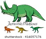 Set Of Dinosaurs  Jurassic...
