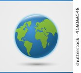 3d world globe icon with green... | Shutterstock .eps vector #416066548
