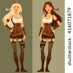 beautiful cartoon steampunk girl | Shutterstock .eps vector #416071879