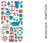 big set with doodle images... | Shutterstock .eps vector #416073124