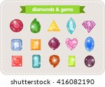 a set of colorful gems and... | Shutterstock .eps vector #416082190