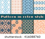 set of seamless patterns in art ... | Shutterstock .eps vector #416088760