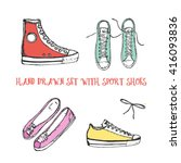 hand drawn set with sport shoes ... | Shutterstock .eps vector #416093836