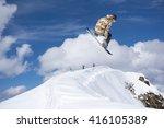 snowboard rider jumping on... | Shutterstock . vector #416105389