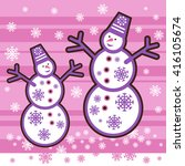 Two snowmen on a pink background with snowflakes  - stock vector