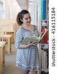 beautiful asian student reading ... | Shutterstock . vector #416115184