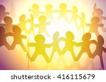 team of paper doll people   Shutterstock . vector #416115679