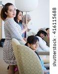 group of friends enjoying their ... | Shutterstock . vector #416115688