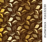 gold leaves on brown background | Shutterstock .eps vector #416132230
