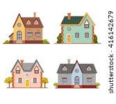 set of cute vector cartoon... | Shutterstock .eps vector #416142679