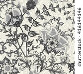 hand drawn paisley. flowers and ... | Shutterstock .eps vector #416144146