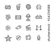 cinema outline icon set on a...   Shutterstock . vector #416154088