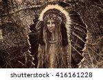 indian woman hunter | Shutterstock . vector #416161228
