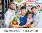happy friends with baskets of... | Shutterstock . vector #416169328