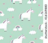 cute card with unicorn | Shutterstock .eps vector #416169880