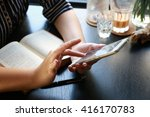 women reading a book  ... | Shutterstock . vector #416170783