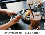 woman hand use phone on table  ... | Shutterstock . vector #416173864