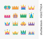 set of crown icons. collection... | Shutterstock .eps vector #416177614