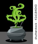 cartoon witch cauldron for... | Shutterstock .eps vector #416184043