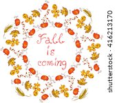 autumn round floral frame with... | Shutterstock .eps vector #416213170