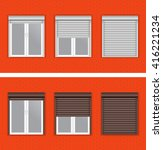 windows with rolling shutters... | Shutterstock .eps vector #416221234