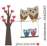Owls Family On Heart Tree....