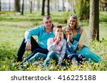 happy pregnant family with two... | Shutterstock . vector #416225188